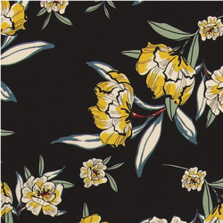 Woven polyester black with flowers