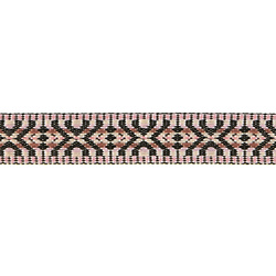 Ribbon jacquard 20mm black/rose 3m