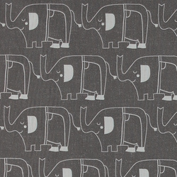 Cotton dark grey w light grey elephants
