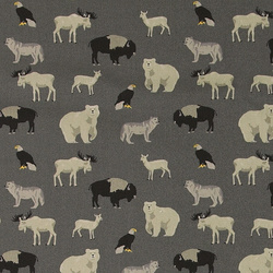 Cotton dark grey w wild animals