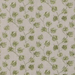 Voile light grey w green leaves