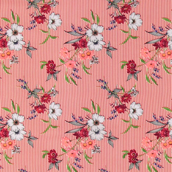 Woven viscose red stripe w flowers