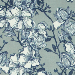 Voile lt grey with blue/white flowers