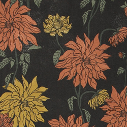 Woven black with rust and yellow dahlias