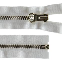 YKK zip 4mm open end gold/white