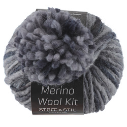 Yarn merino wool kit w/pompon blue mix