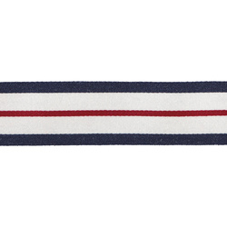 Ribbon woven 34mm white/blue/red 3m