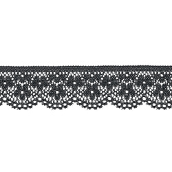 Lace with stretch 25mm black 3m