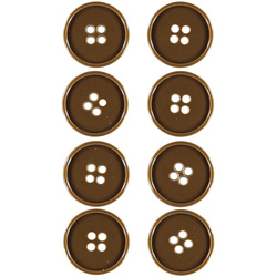 Button 4-holes 23mm caramel 8pcs