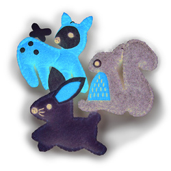 Kit felt squirrel/rabbit/deer 90mm 3 pcs