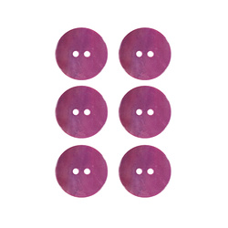 Button 2-holes pearl 20mm pink 6pcs