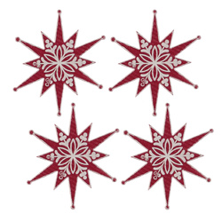 Deco star 55x60mm red/white 4pcs