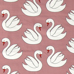 Stretch jersey dark rose with swans