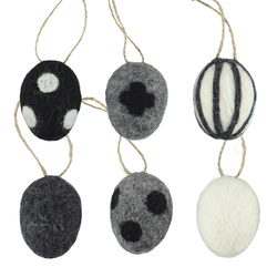 Kit felt eggs 6pcs grey/black/white set