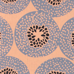 Woven oilcloth coral w blue/black circle