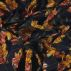 Woven viscose dark navy w golden flowers