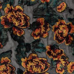Chiffon black w velvet burn out flowers